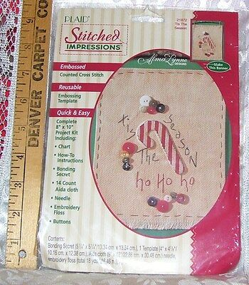 Counted Cross Stitch Kit Tis The Season Candy Cane Banner By Plaid Nip 1995