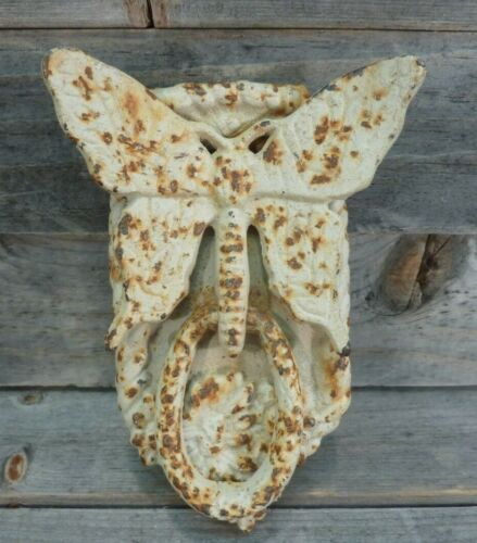 Vintage White Rusty Patina Cast Iron Butterfly Door Knocker Rustic Antique