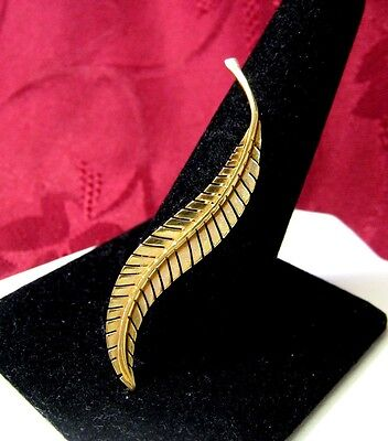 18K YELLOW GOLD FEATHER PIN BROOCH 2.3 GRAMS