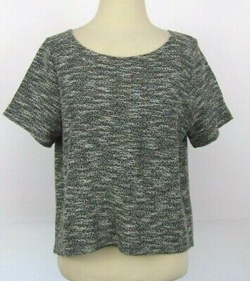 ANTHROPOLOGIE DOLAN MARLED CROP T-SHIRT TOP - SMALL GRAY