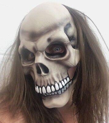Menschlicher Schädel Beweglicher Mund Maske 2 Teile Spfx Halloween Kostüm