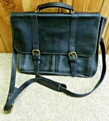Aston Leather Leather Briefcase ( Aston Black Leather Cross Body Men's Brief Case Shoulder Carry)