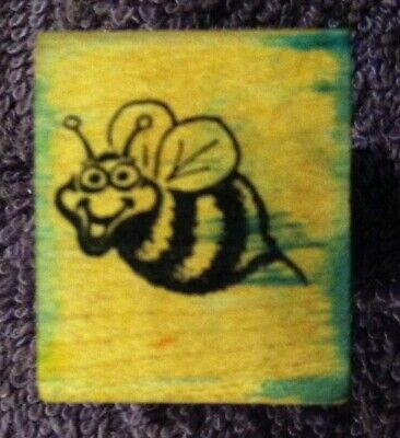 1981 🌼SMILING BUMBLE BEE🌼 Rubber Stamp by Funny Business Seattle w/ FREE SHIP - Bumble Bee Funny