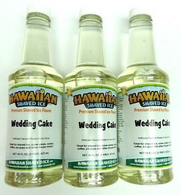 Lot Of 3 Hawaiian Shaved Ice Wedding Cake Flavor Snow Cone Syrup 1 Pint16ounces