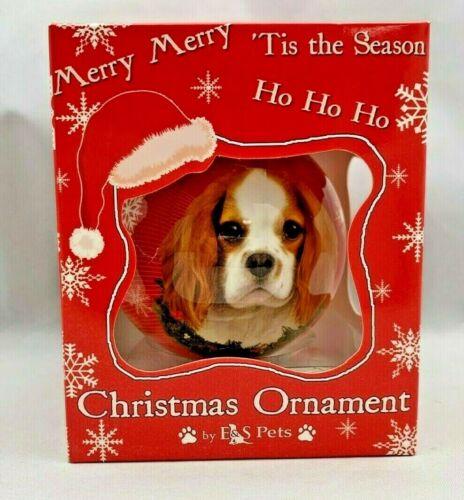 E&S PETS CHRISTMAS XMAS Ball Ornament KING CHARLES CAVALIER Spaniel Dog