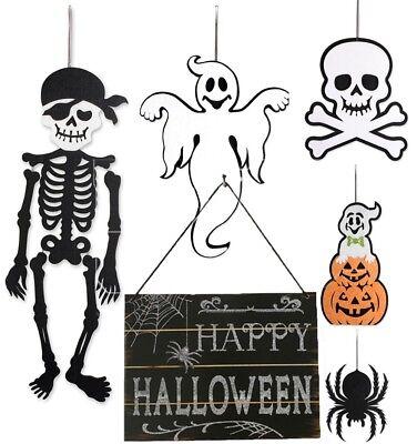 Indoor And Outdoor Wood Fall Halloween Hanging Door Decorations And Wall Signs - Halloween Outdoor Wall Decorations