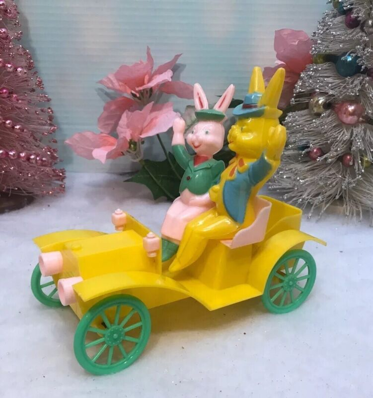 Vintage ROSBRO Easter Plastic Bunny Rabbit Driving Yellow Car