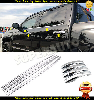 For 2014-2018 Chevrolet Silverado CrewCab Polished Window Sill+Handle Covers