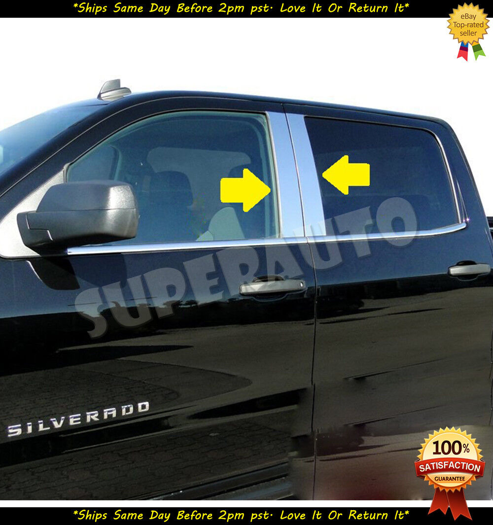 FOR 2010-2017 DODGE RAM 2500 3500 REG CAB CHROME B PILLAR POST STAINLESS STEEL