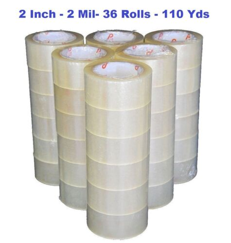 2 INCH x 110 Yards (330 ft) Clear Sealing Packing Shipping Tape 2 MiL - 36 Rolls