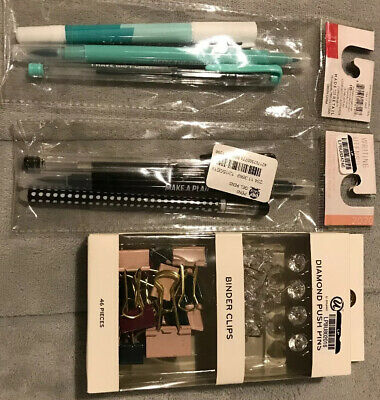 Office Supply Lot...push Pins Binder Clips Pens Markers
