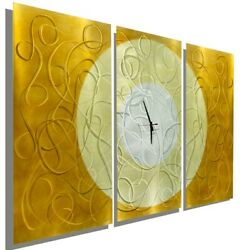 Metal Wall Clock ULTRA MODERN Wall Clock Art Gold Silver ORIGINAL ART Jon Allen