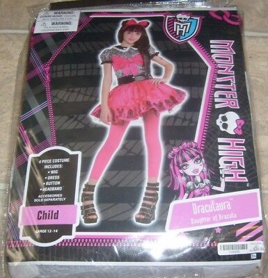 DRACULAURA MONSTER HIGH HALLOWEEN COSTUME W/ WIG SZ LG 12-14 MIP SET - Draculaura Monster High Halloween Costume