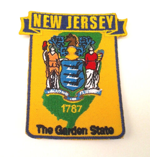 """NEW JERSEY STATE MAP (3-1/2"""") Biker Patch PM6731-2 EE"""