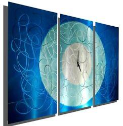AQUA BLUE SILVER Metal Wall Clock Art 3 Panels  Abstract ORIGINAL Jon Allen