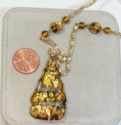 Venetian Murano Golden Brown Foiled Art Glass Pendant 31