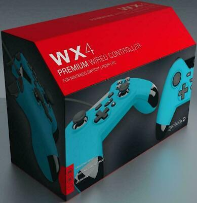 NINTENDO SWITCH PS3 & PC GIOTECK WX4 PREMIUM WIRED CONTROLLER GAME PAD * BLUE