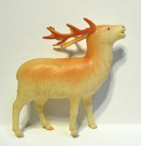VINTAGE CELLULOID REINDEER JAPAN 3 1/2 X 3 1/2 INCHES