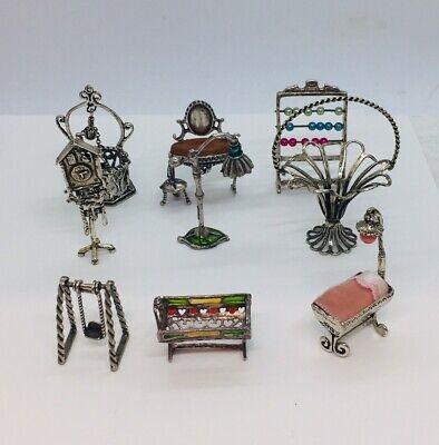 Dollhouse Silver and Gold Metal Dagger Ornate Fleur De Lis Design Miniature