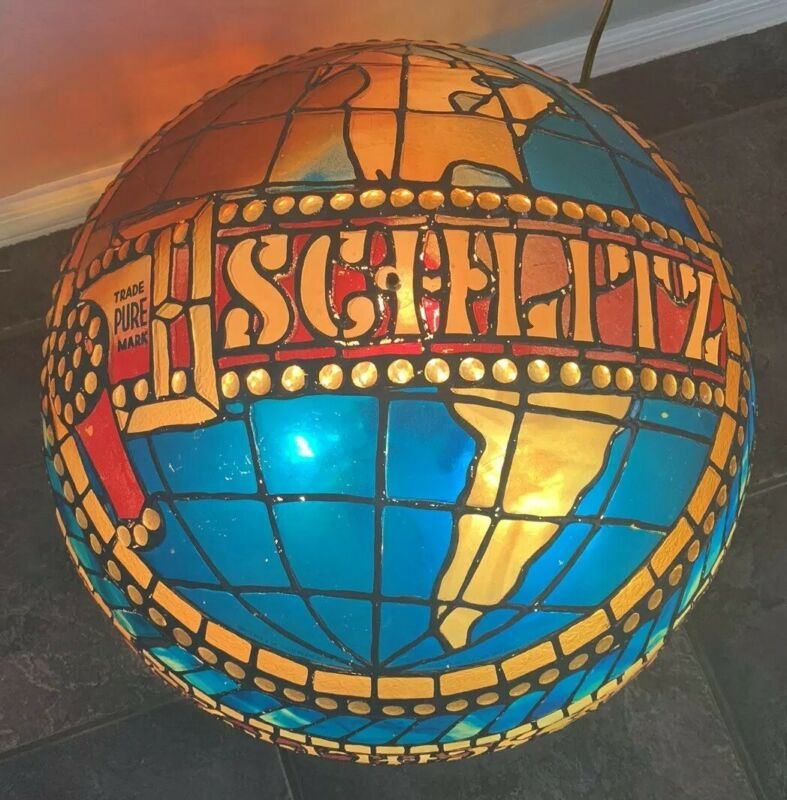 VIntage Schlitz Beer Hanging Globe Bar/ Pool Light- Stained Glass Look
