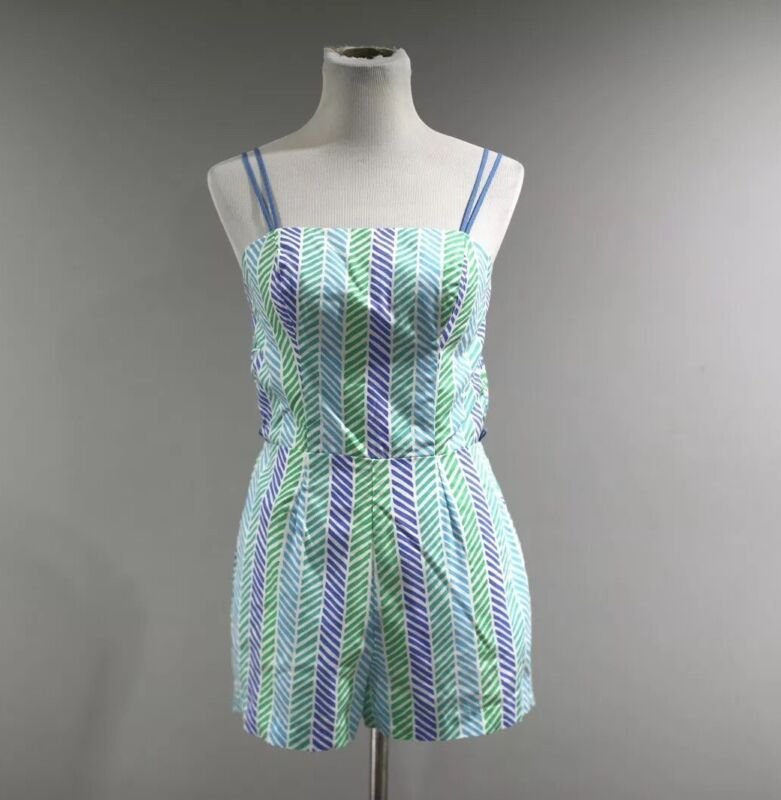 Vintage Swimsuit Romper Playsuit Womens Size 10 One Piece Sea Waves  G
