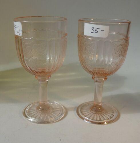 "Pink Mayfair OPEN ROSE Depression Glass 2 Scarce 4-1/2"" 3 Oz Wine Goblet"