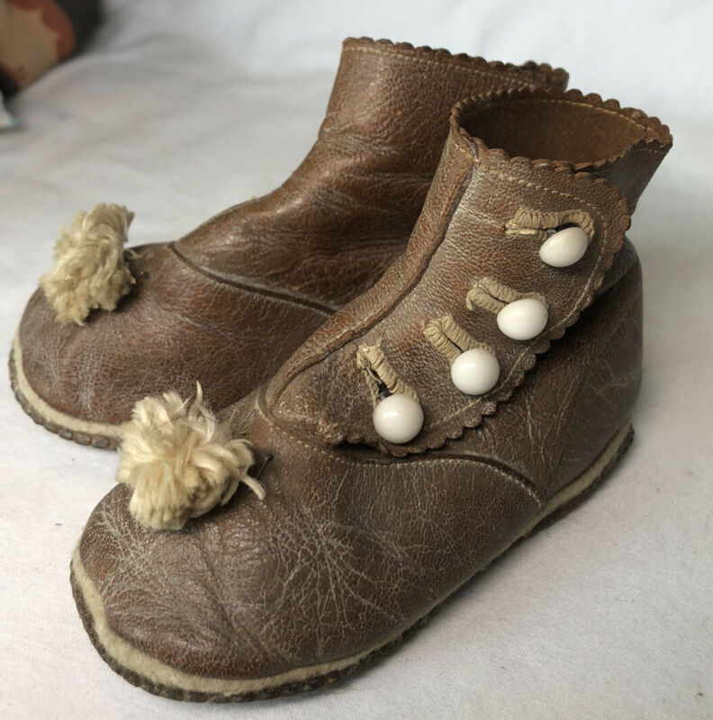 Antique Victorian Kid Leather Baby Child Doll Side Button Shoes Boots Brown Poms