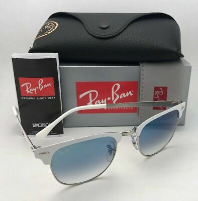 New RAY-BAN Sunglasses CLUBMASTER METAL RB 3716 9088/3F White-Silver w/Blue (White Clubmasters)