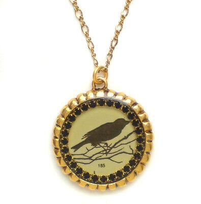 Maximal Art Halloween Necklace John Wind Raven Bird Silhouette Gold Jewelry (Halloween Raven Silhouettes)