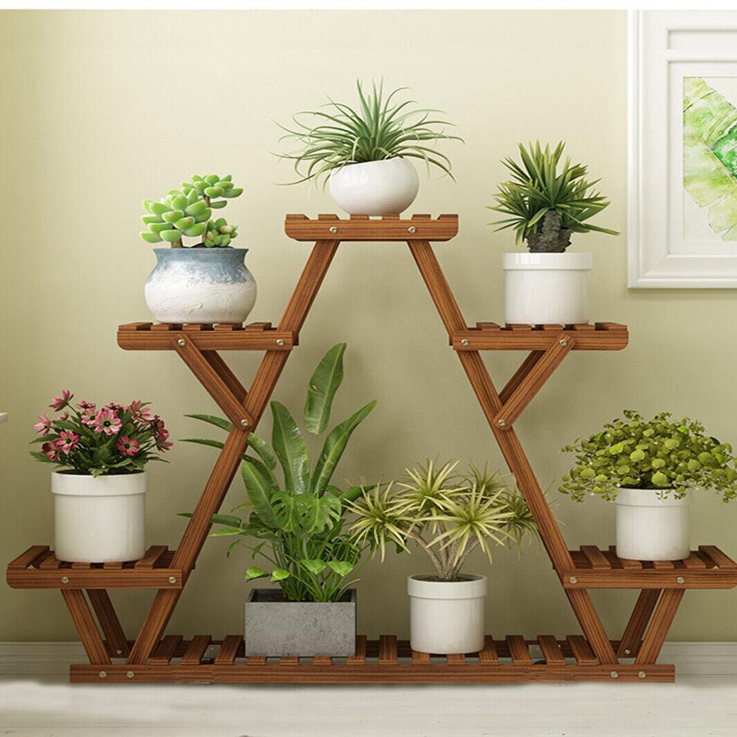 Triangle Diy 6 Tiered Corner Wood Plant Stand Planter Flower Rack Indoor Outdoor 718699854582 Ebay