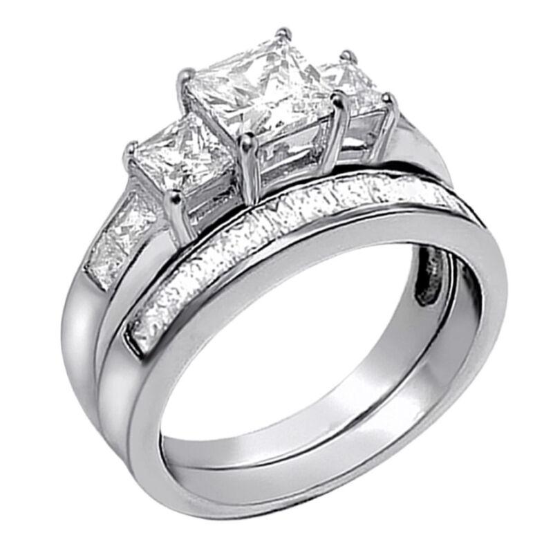 3.31Cttw Princess Cut 925 Sterling Silver Wedding Women Ring Set Size 5-10
