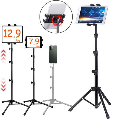 Adjustable Tablet Tripod Floor Stand Live Tablet Holder 360 Rotation up to 13in