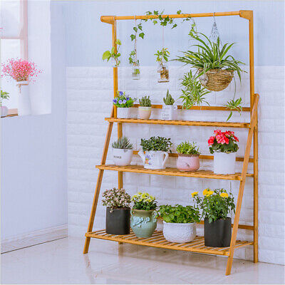 3 Tier Folding Shelf Hanging Plant Stand Bamboo Flower Pot Display Rack Bookcase ()
