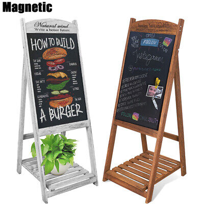 Magnetic Chalkboard Sidewalk Easel Sandwich Sign Board With Flower Display Shelf
