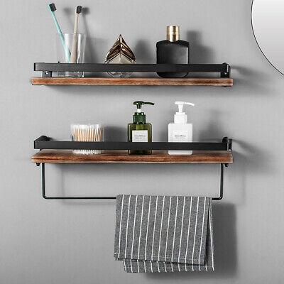 2 Set Floating Shelves Wall Mount Wood Kitchen Living Room Bathroom w/ Towel Rod