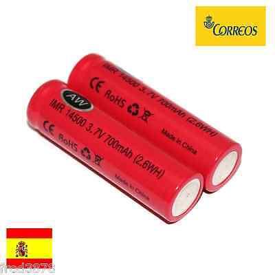 2X PILAS RECARGABLES AA 14500 IMR AW 700mAh 3,7V CIGARRO ELECTRICO MANGANESO