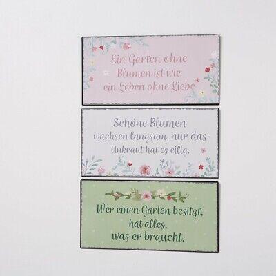 Blumen Garten Schilder mit Sprüchen Eisen lackiert 40 x 20 cm Stückpreis