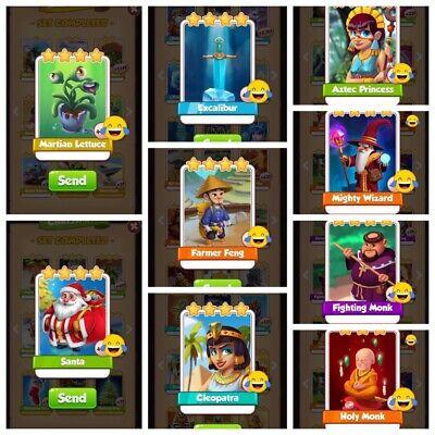 Coin Master Martian Lettuce, Santa, Excalibur, combo packs all 9 Cards Shown