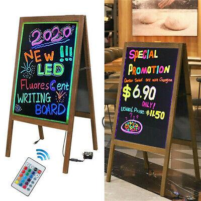 Wood Chalk Board Led Flourescent Writing Board Double Glass Sides Sandwich Board