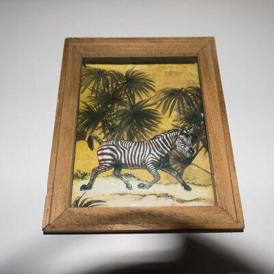 Layered paper zebra boxed frame
