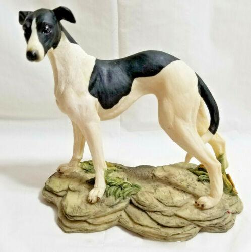 "Greyhound Whippet IG Dog Figurine Art Black White Spots 6"" Resin"