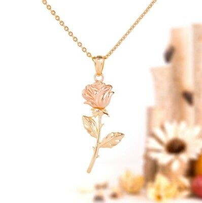 Rose necklace, 14k two-tone solid gold, rose pendant, valentine's day gift