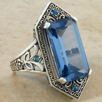 6 CT. SIM AQUAMARINE OPAL VICTORIAN DESIGN 925 STERLING SILVER RING SIZE 10,#283