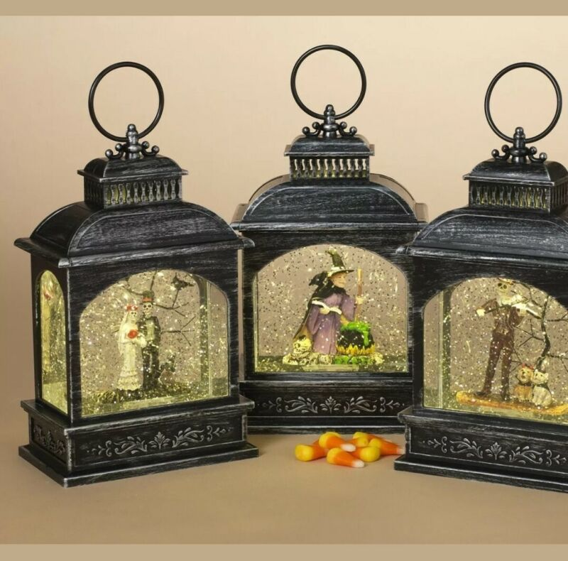 """Set of 3- 8.25""""H B/O Lighted Spinning Water Globe Halloween Lanterns with Timer"""