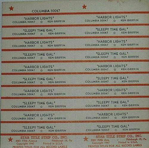 "JUKEBOX TITLE STRIP SHEET - KEN GRIFFIN ""Harbor Lights"" Columbia 50047"