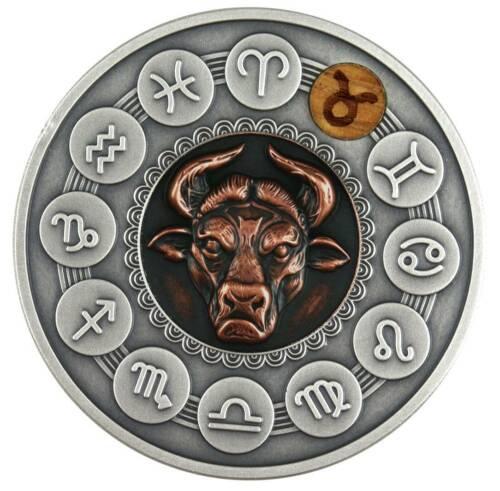 TAURUS ZODIAC SIGNS - 2020 1 oz Pure Silver Antiqued Coin Wood Insert NIUE