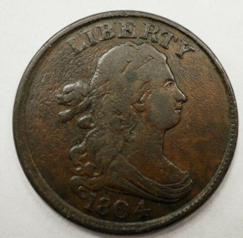 1804 Half Cent - Plain 4, Stems - Variety 2- 1/2C #43