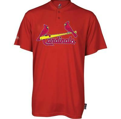 Mlb St  Louis Cardinals Majestic Mens Cool Base 2 Button Replica Jersey Shirt