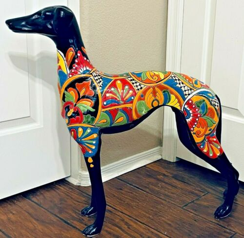 """Talavera Mexican Dog Italian Greyhound Whippet Figure X Large Pottery Statue 26"""""""