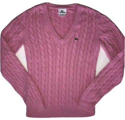 LACOSTE Sweater Womans 38 Cagle Knit Pink 100% Cotton